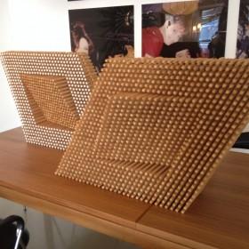 Zweiteilige Skulptur aus Holz