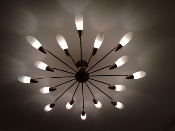 1950 Deckenlampe Messing Glas 1