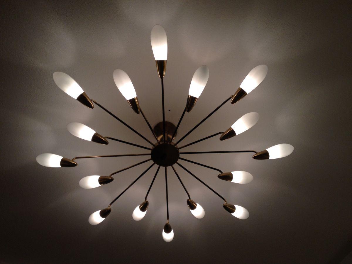 Bezaubernd Messing Deckenlampe Sammlung Von 1950 Glas 1
