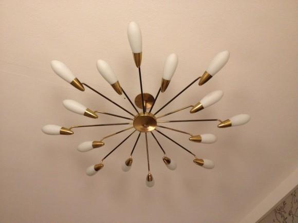 1950 Deckenlampe Messing Glas 5