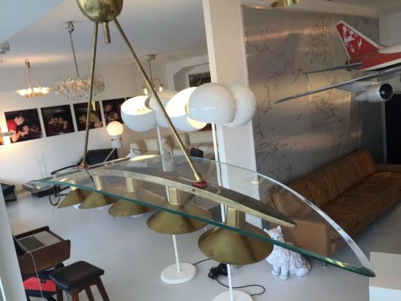Elastique Vintage Zurich Brass Glass Messing Glas Lampe Lamp Fontana Arte Stil 2