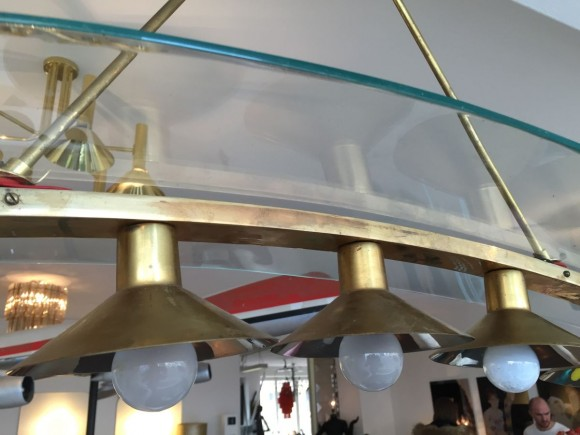 Elastique Vintage Zurich Brass Glass Messing Glas Lampe Lamp Fontana Arte Stil 3