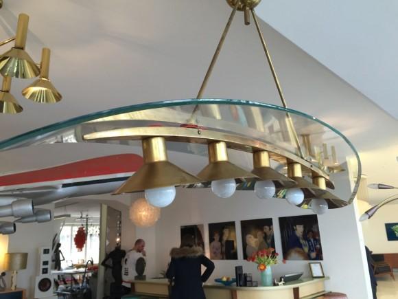 Elastique Vintage Zurich Brass Glass Messing Glas Lampe Lamp Fontana Arte Stil 6