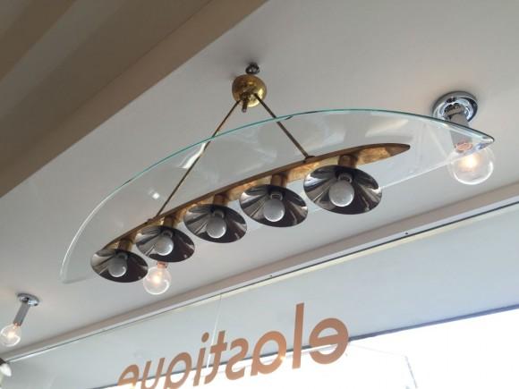 Elastique Vintage Zurich Brass Glass Messing Glas Lampe Lamp Fontana Arte Stil 7