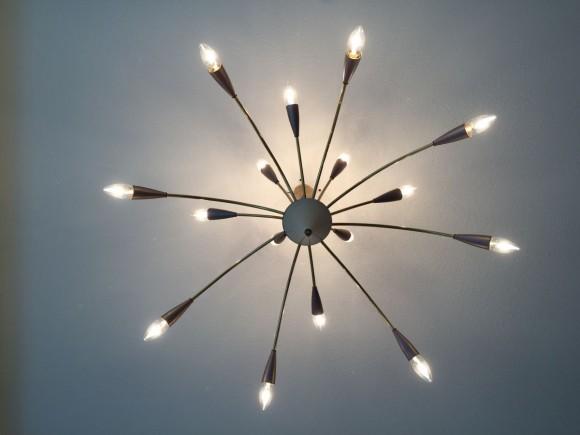 Sputnik Lampe Messing 1950 2