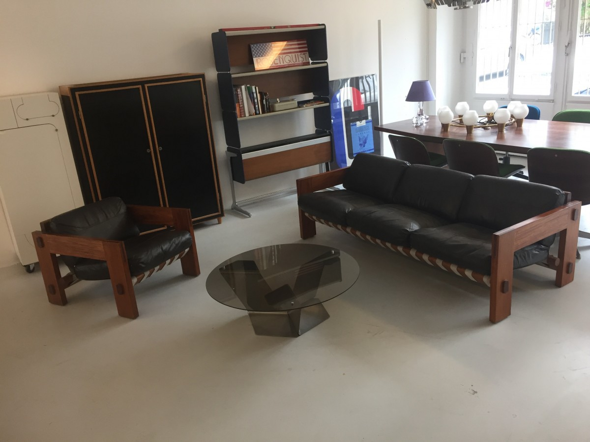 Sofa In Leder Und Mahagoni Elastique Zurich Vintage Mobel