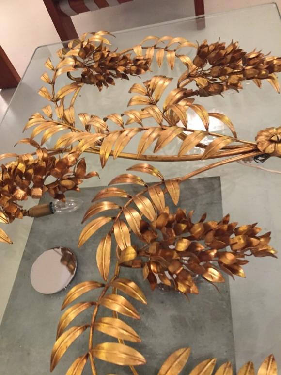 Wandlampe Lamp Hans Koegl Blaetter Gold Elastique Vintage Moebel Zuerich Schweiz 1