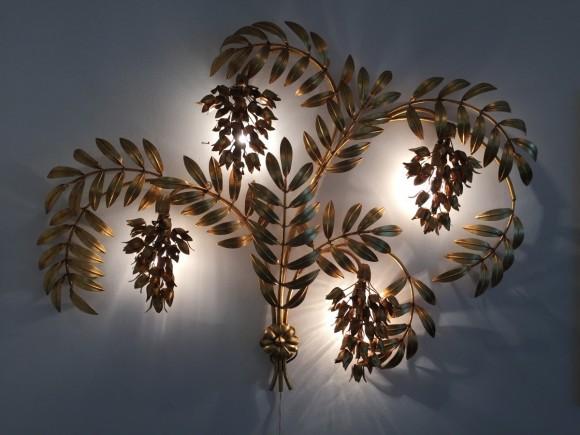 Wandlampe Lamp Hans Koegl Blaetter Gold Elastique Vintage Moebel Zuerich Schweiz 11
