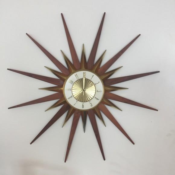 Sonnen Wanduhr Sun Wall Clock Elgin Teak Messing Elastique Vintage Moebel Zuerich Schweiz 1