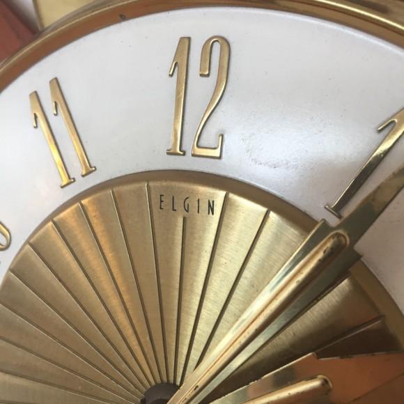 Sonnen Wanduhr Sun Wall Clock Elgin Teak Messing Elastique Vintage Moebel Zuerich Schweiz 3