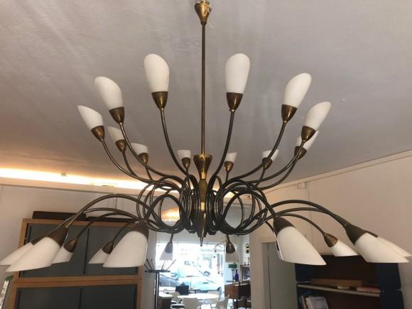 50er Jahre Lampe 1950 Messing Glas Italien Italy Sputnik Leuchter Elastique Zuerich Schweiz Switzerland 4